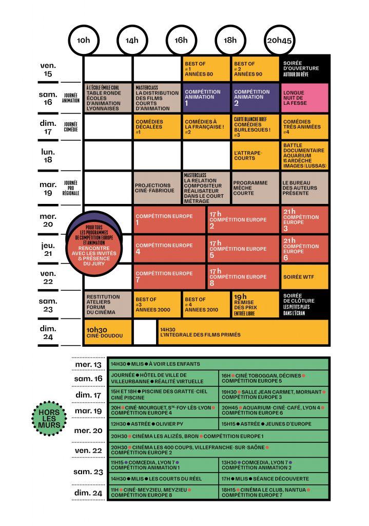 Grille horaires festival du film